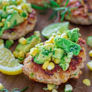 Chicken Burgers with Avocado Corn Salsa.