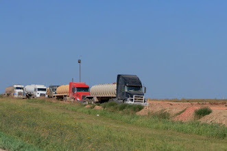 Photo: Trucks fill with salt water waiting to unload for disposal.