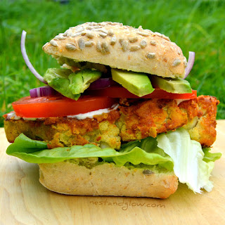 Chickpea Cauliflower Spicy Burger.