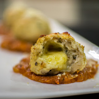 Cheese Stuffed Chicken Meatballs.