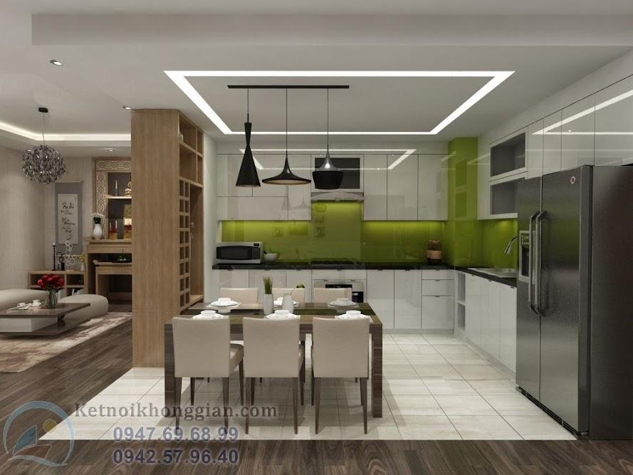 thiết kế phòng bếp ấm cúng, thiết kế chung cư đơn giản