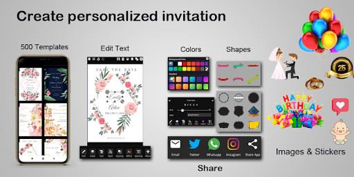 Invitation maker 2020 Birthday & Wedding card Free screenshot 1
