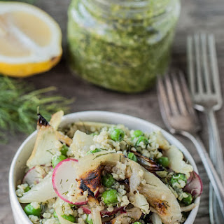 Grilled Fennel & Pea Salad with Fennel Frond Pesto