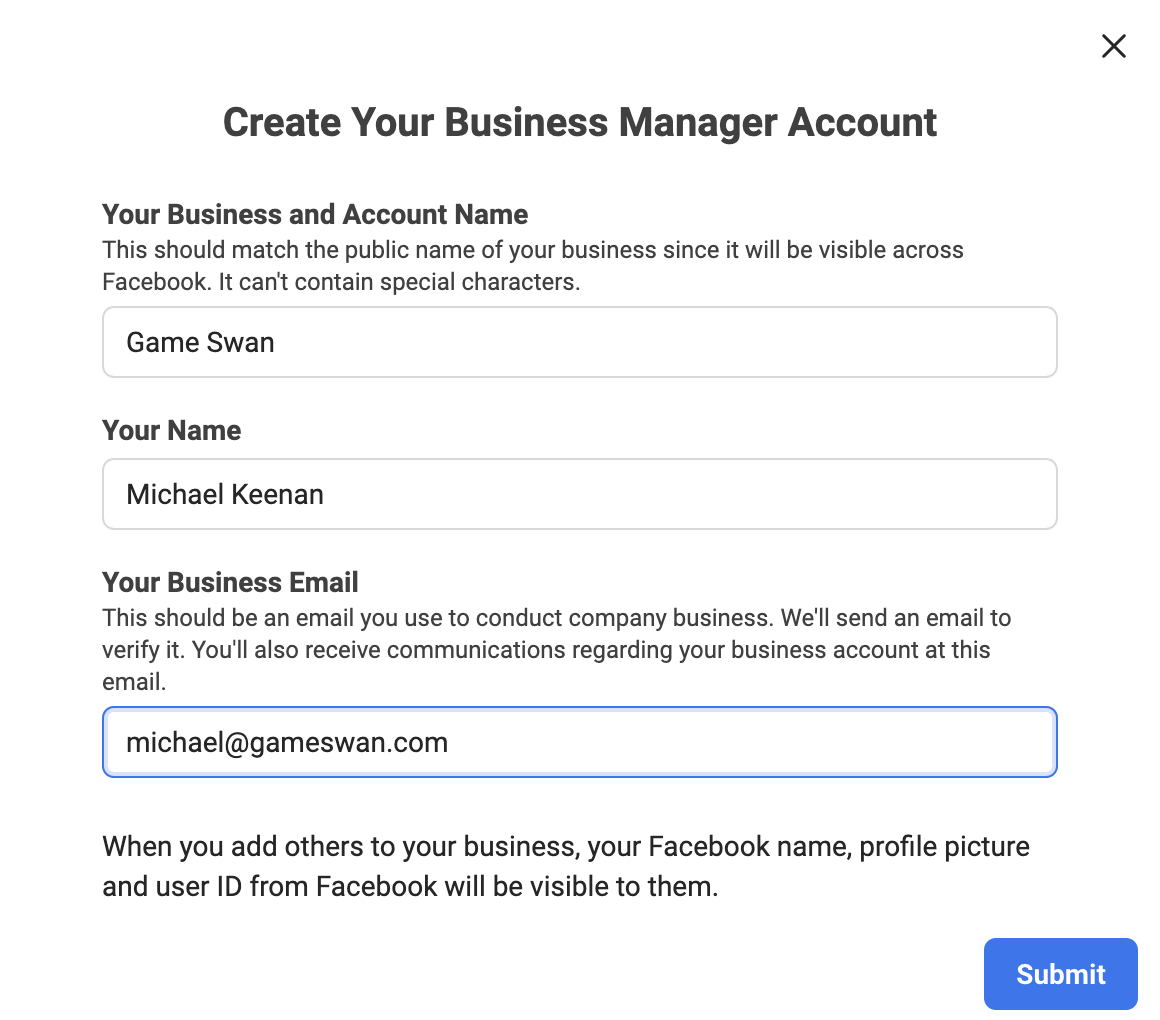 Creating fb business manager account