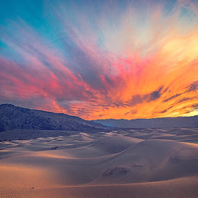 Death Valley Sunset by Mike Moss - Landscapes Deserts