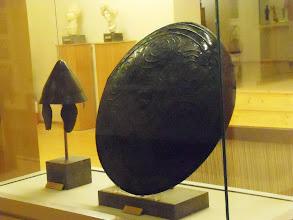 Photo: Apollonia Museum - Macedonian helmet 314-312 BC and Illyrian shield 4th century BC
