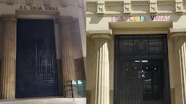 Entrada del IES Celia Viñas con las letras históricas y las de colores que permanecen en este momento.