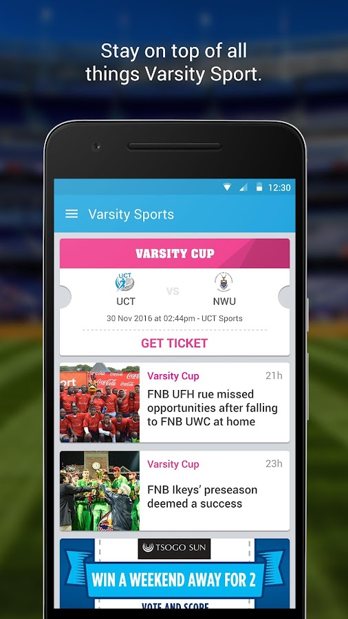 Varsity Sports SA- screenshot