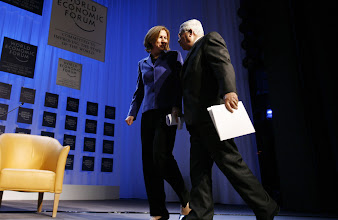 Photo: DAVOS/SWITZERLAND, 25JAN07 - Tzipi Livni, Vice-Prime Minister and Minister of Foreign Affairs of Israel (l), and Mahmoud Abbas, President of the Palestinian Authority, right, captured at the beginning of the session 'Enough Is Enough - Israel and the Palestinian Territories' at the Annual Meeting 2007 of the World Economic Forum in Davos, Switzerland, January 25, 2007. Copyright by World Economic Forum    swiss-image.ch/Photo by Monika Flueckiger+++No resale, no archive+++