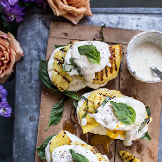 Grilled Pineapple Caprese Eggs Benedict with Coconut-Almond Hollandaise..