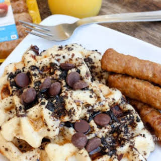 Oatmeal Buttermilk Waffles with Crushed Oreos & Marcona Almonds.