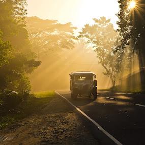 Sunrise over Maharlika highway. by Wilfredo Garrido - City,  Street & Park  Vistas ( vistas, park, street, street scenes, city )