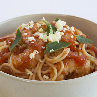 Pasta with Shrimp, Tomatoes and Feta.