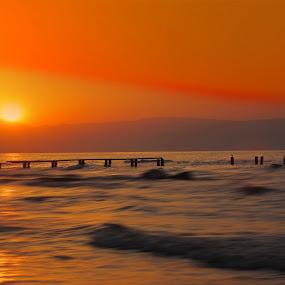 Caspian sea by Fereshteh Molavi - Landscapes Beaches ( clouds, waves, sea, birdsun )