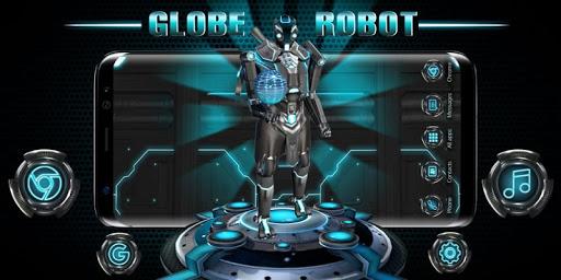 3D Blue Tech Globe Robot Theme screenshot 4