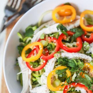 Thai Chicken Zucchini Noodle Salad with Sesame Vinaigrette