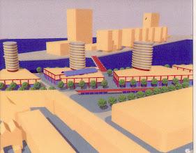 Photo: [1999 ©-Woningsrichting Onze Woongemeenschap OWG en ©-verzameling KBO] - http://www.Katendrecht.info - schetsen & studies - artist impression mogelijk alternatief Fenixloodsen (zie ^6 op de plattegrond).