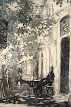 """Photo: Hans Christian Andersen (Kopenhagen?)  Height: 39.10 cm  Width: 28.00 cm    Druck von J. Niederbühl Stuttgart"""" im Jhre 1905 Radierung auf Kupferdruckkarton / graphic art"""