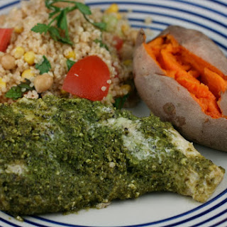 Slow Cooker Pesto Chicken and Sweet Potatoes Layered Dinner.