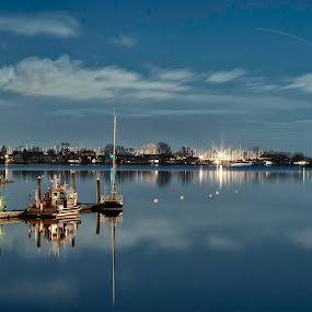 Night on the Sound by Jeff Klein - Landscapes Waterscapes ( exposure, water, boats, sono, night, ocean, landscape, long,  )