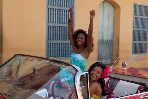 Cuba-Girls-in-Convertible-Car_01.jpg - On a visit to Havana you'll come across all kinds of classic cars.
