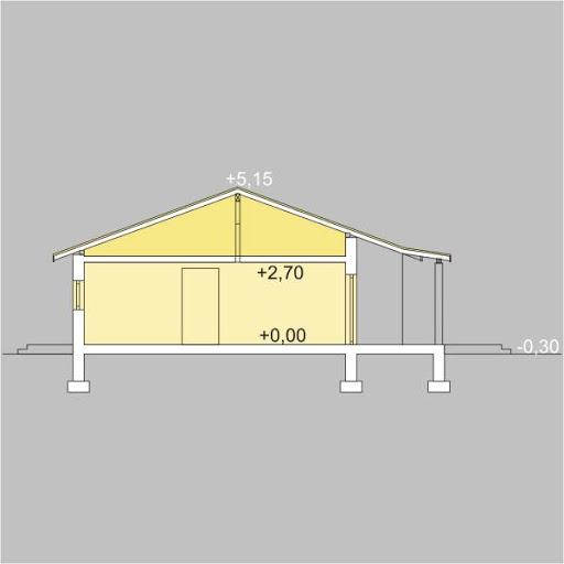 Antek wersja B z pojedynczym garażem - Przekrój