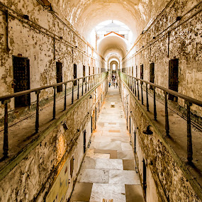 Hallway at Eastern State Penitentiary by Carol Ward - Buildings & Architecture Decaying & Abandoned ( prison, philly, eastern state penitentary, philadelphia, prison hallway,  )
