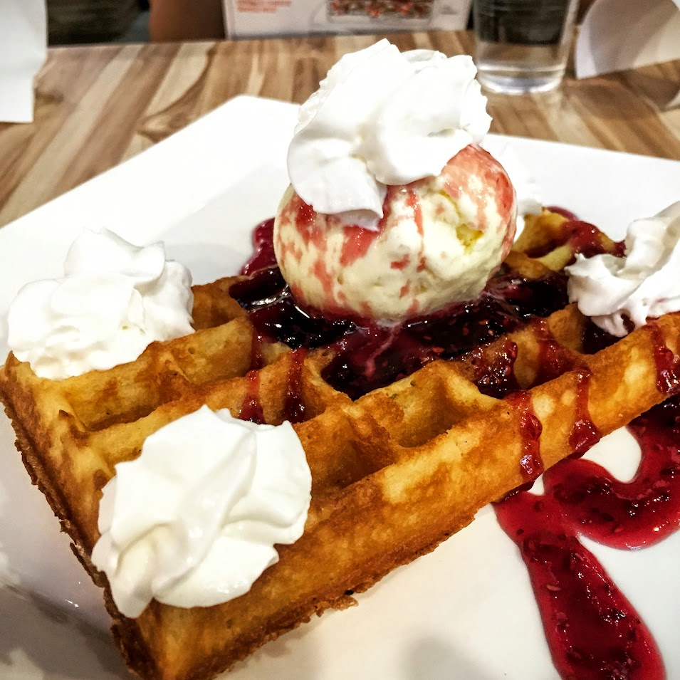 Waffles with Raspberries & Vanilla Ice-Cream