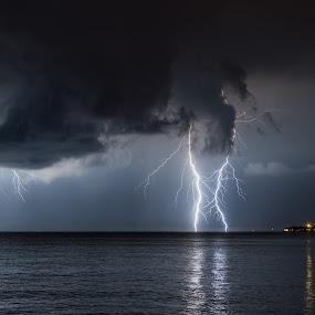 Lightning at sea by Matic Cankar - Landscapes Weather ( thunder, lightning, dark, weather, sea, night, landscape, storm, coast, city )