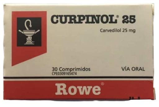 Carvedilol Curpinol 25 mg x 30 Comprimidos  Roemmers x 25 mg X 30 Comprimidos
