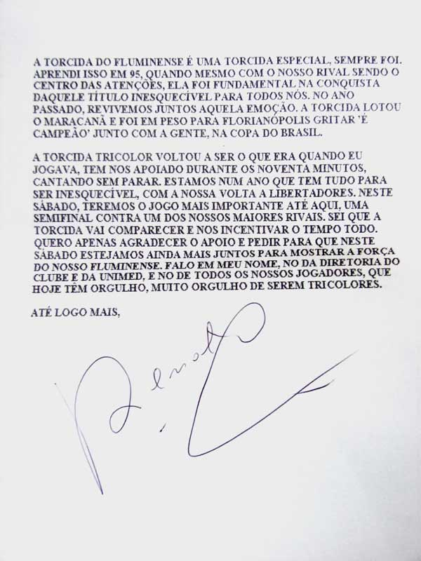 Carta de Renato Gaúcho à torcida do Fluminense