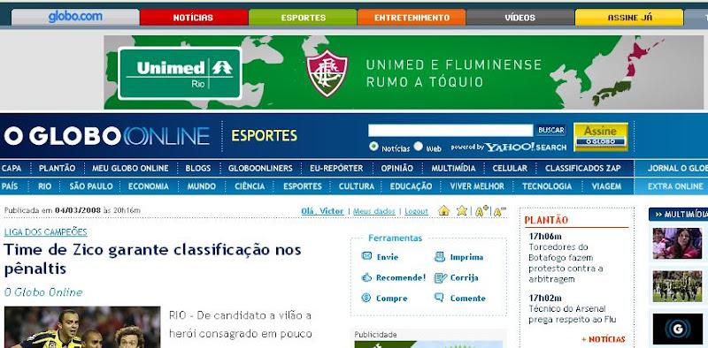 Unimed Rio anuncia no Globo On-Line usando o Flu na Libertadores