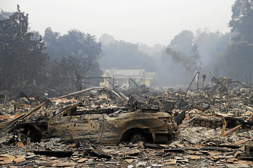 The remains of a burned property along Highway 12 in Sonoma, California, on October 10 2017. Picture: REUTERS