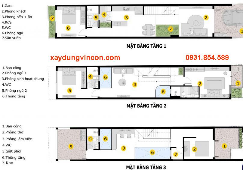 Sơ đồ thiết kế mặt bằng nhà phố 3 tầng