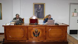 El alcalde y el secretario en el pleno ordinario telemático.