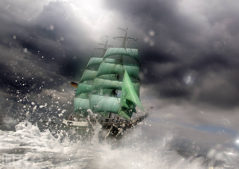 Photo: The tall ship Alexander von Humbolt cuts through waves and weather during Kieler Woche, the world's largest sailing event in Kiel, Germany, on June. Photo: Eduard Bopp/Imago/Zumapress.com Jun 24, 2011