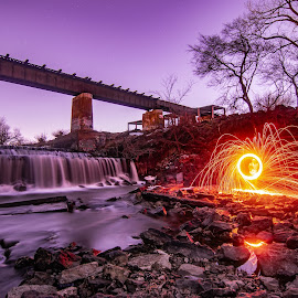 Fire under the bridge by Duane Vosika - Abstract Light Painting ( landscapes, traintracks, sparks, nature, long exposure, water, nikon, waterfall, steel wool, fire, light painting, light trails, bridge )