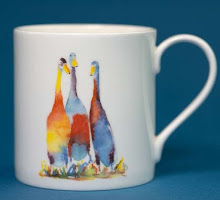 watercolour of two Indian Runners on a white Mug