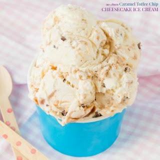 No-Churn Caramel Toffee Chip Cheesecake Ice Cream