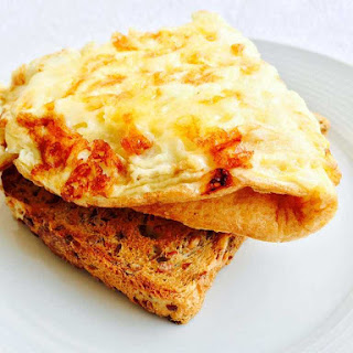 Cheese Omelette On Toast.