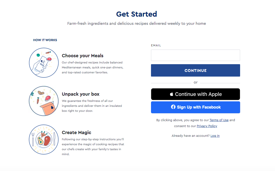 BlueApron signup page
