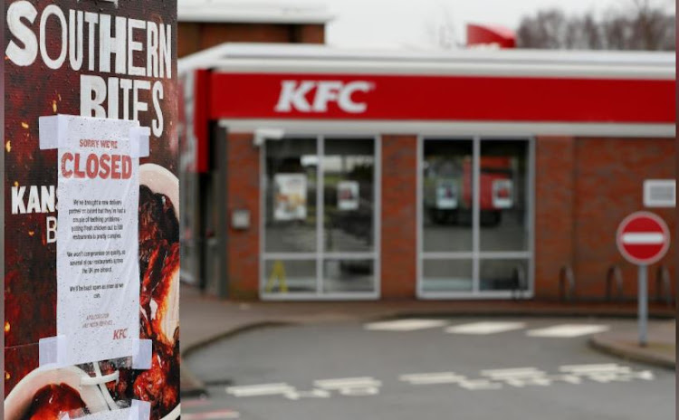 A closed sign hangs at the drive through of the KFC restaurant after problems with a new distribution system in Coalville , Britain, February 19, 2018.