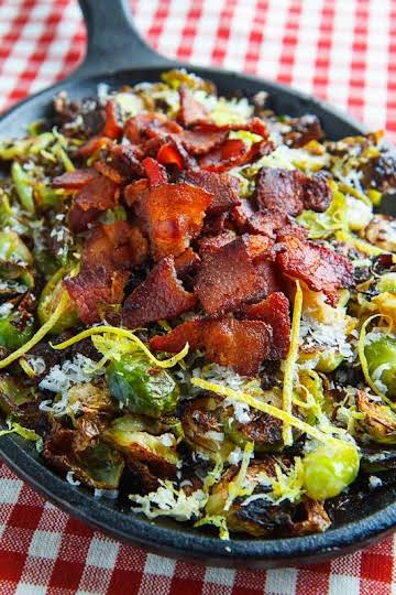 Parmesan Roasted Brussels Sprouts with Double Smoked Bacon Recipe