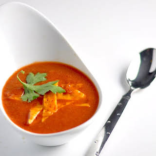 Tomato Soup with Cheese Croutons - Low Carb, Keto, GF.