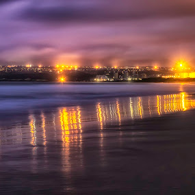 Reflecting Coastline by Hilton Viney - Landscapes Sunsets & Sunrises ( lights, dawn, silky, waterscape, waves, slowshutter, reflections, ocean, sunrise, seascape, beach, coastline )