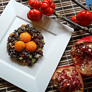 WARM WILD RICE SALAD with ROASTED SQUASH EGGS