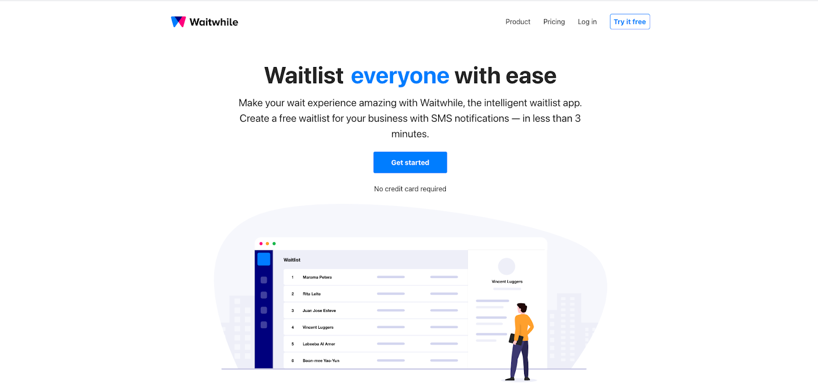 Waitwhile waitlist, queue management and appointment scheduling app homepage screenshot