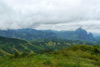 Photo: Look at the mountain range during our road journey from Vang Vieng to Luang Prabang