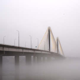 engulfed by Jody Jedlicka - Buildings & Architecture Bridges & Suspended Structures ( fog, mississippi river, weather, bridge, spring )