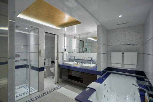 A look at the luxurious marble-laden bathroom in the Seven Seas Suite on Seven Seas Explorer.